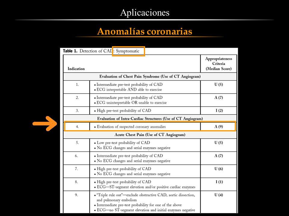Aplicaciones Anomalías coronarias