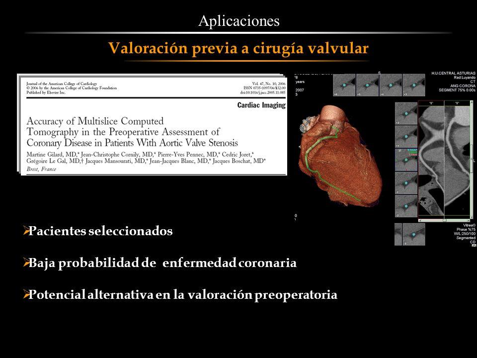 Pacientes seleccionados Baja probabilidad de enfermedad coronaria Potencial alternativa en la valoración preoperatoria Aplicaciones Valoración previa