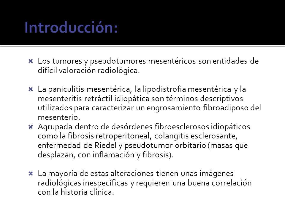 Los tumores y pseudotumores mesentéricos son entidades de difícil valoración radiológica. La paniculitis mesentérica, la lipodistrofia mesentérica y l