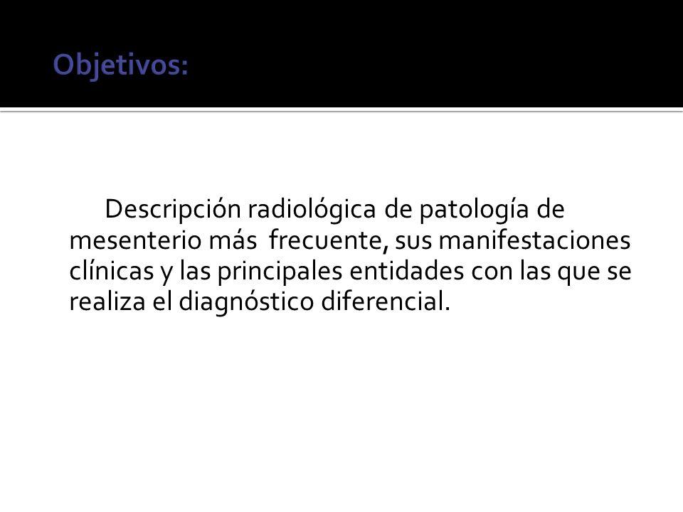Descripción radiológica de patología de mesenterio más frecuente, sus manifestaciones clínicas y las principales entidades con las que se realiza el d