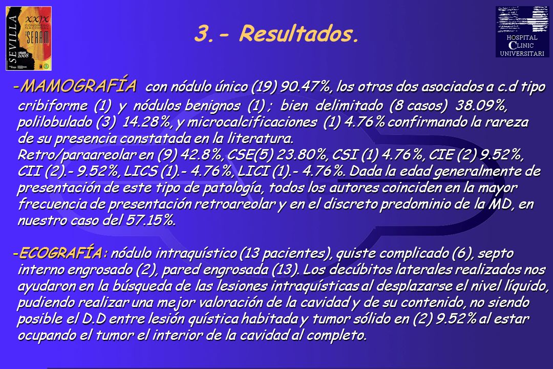 S.V.S 3.- Resultados. -MAMOGRAFÍA con nódulo único (19) 90.47%, los otros dos asociados a c.d tipo cribiforme (1) y nódulos benignos (1) ; bien delimi