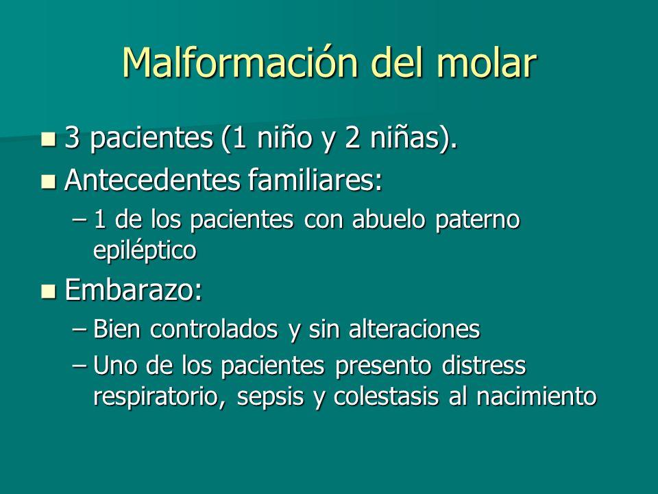 Malformación del molar 3 pacientes (1 niño y 2 niñas). 3 pacientes (1 niño y 2 niñas). Antecedentes familiares: Antecedentes familiares: –1 de los pac