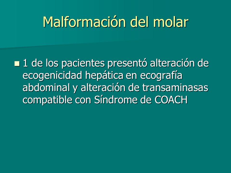 Malformación del molar 1 de los pacientes presentó alteración de ecogenicidad hepática en ecografía abdominal y alteración de transaminasas compatible