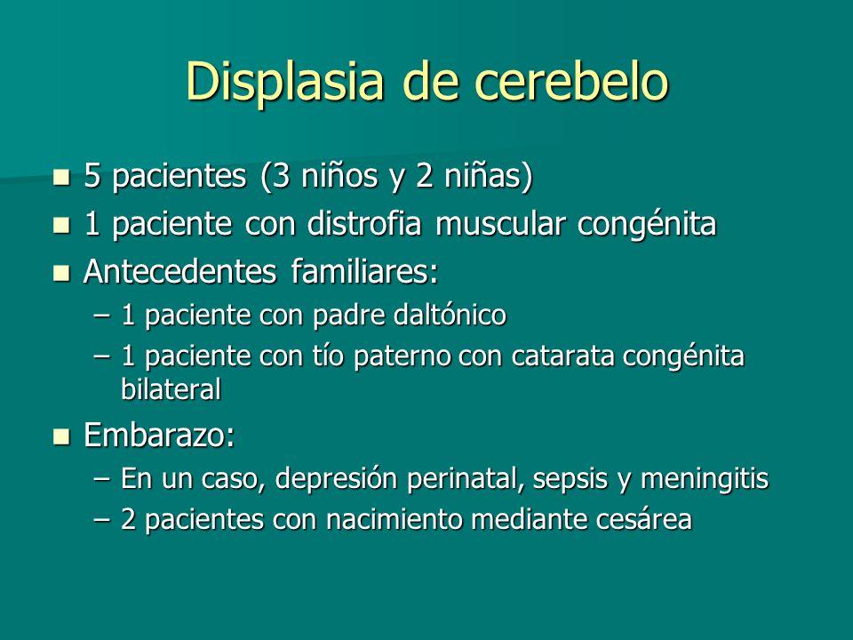 Displasia de cerebelo 5 pacientes (3 niños y 2 niñas) 5 pacientes (3 niños y 2 niñas) 1 paciente con distrofia muscular congénita 1 paciente con distr