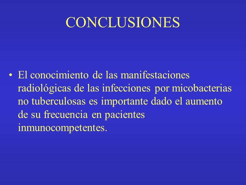 CONCLUSIONES El conocimiento de las manifestaciones radiológicas de las infecciones por micobacterias no tuberculosas es importante dado el aumento de su frecuencia en pacientes inmunocompetentes.