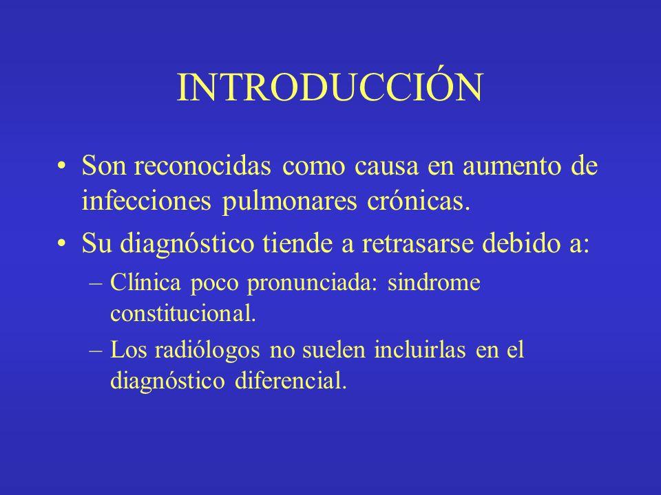 INTRODUCCIÓN Son reconocidas como causa en aumento de infecciones pulmonares crónicas.