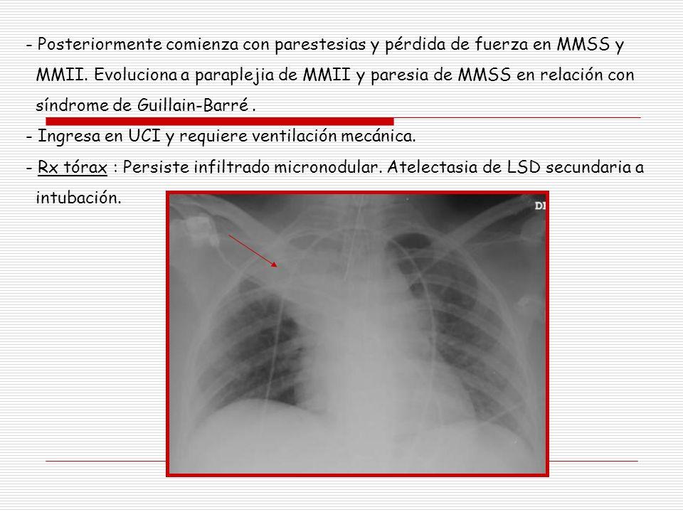 - Posteriormente comienza con parestesias y pérdida de fuerza en MMSS y MMII. Evoluciona a paraplejia de MMII y paresia de MMSS en relación con síndro