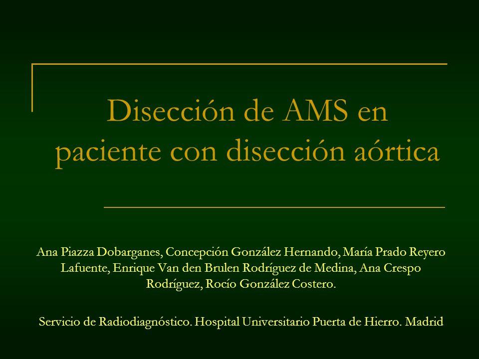 Disección de AMS en paciente con disección aórtica Ana Piazza Dobarganes, Concepción González Hernando, María Prado Reyero Lafuente, Enrique Van den B