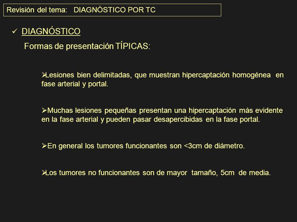 Revisión del tema: DIAGNÓSTICO POR TC DIAGNÓSTICO Formas de presentación TÍPICAS: Lesiones bien delimitadas, que muestran hipercaptación homogénea en