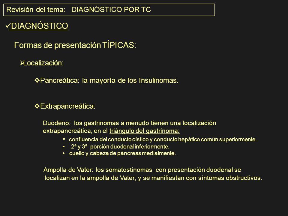 Revisión del tema: DIAGNÓSTICO POR TC DIAGNÓSTICO Formas de presentación TÍPICAS: Localización: Pancreática: la mayoría de los Insulinomas. Extrapancr