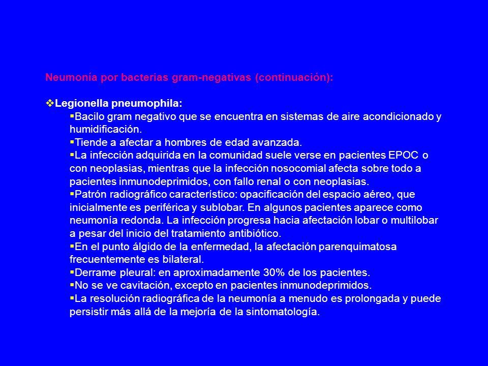 Neumonía por bacterias gram-negativas (continuación): Legionella pneumophila: Bacilo gram negativo que se encuentra en sistemas de aire acondicionado