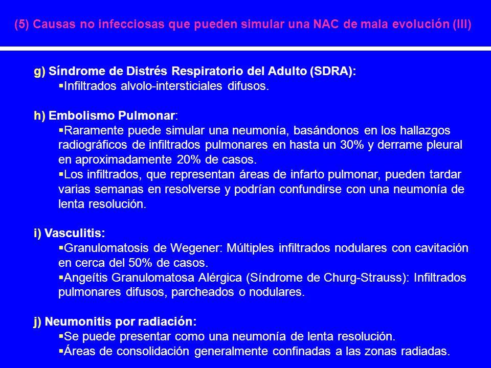 g) Síndrome de Distrés Respiratorio del Adulto (SDRA): Infiltrados alvolo-intersticiales difusos. h) Embolismo Pulmonar: Raramente puede simular una n