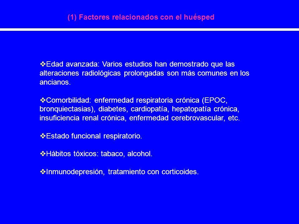 (1) Factores relacionados con el huésped Edad avanzada: Varios estudios han demostrado que las alteraciones radiológicas prolongadas son más comunes e