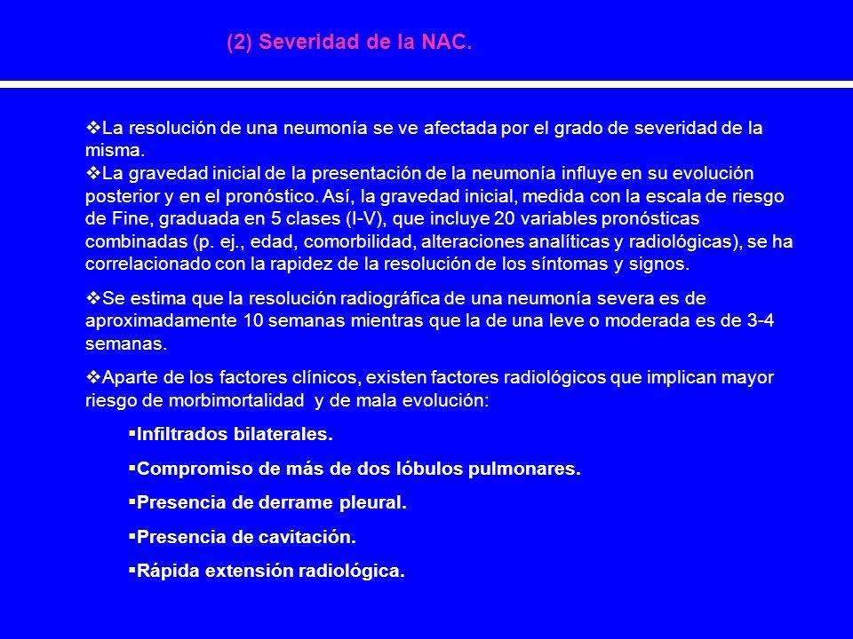 (2) Severidad de la NAC. La resolución de una neumonía se ve afectada por el grado de severidad de la misma. La gravedad inicial de la presentación de