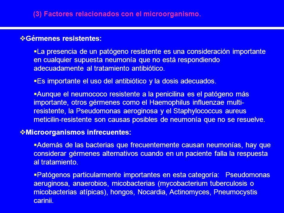 (4) Desarrollo de complicaciones (I) Focos de infección secuestrados pueden hacer que no lleguen concentraciones adecuadas de antibióticos y por tanto impiden la resolución adecuada de la neumonía.
