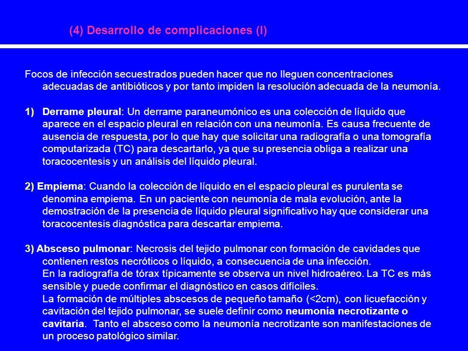 (4) Desarrollo de complicaciones (I) Focos de infección secuestrados pueden hacer que no lleguen concentraciones adecuadas de antibióticos y por tanto