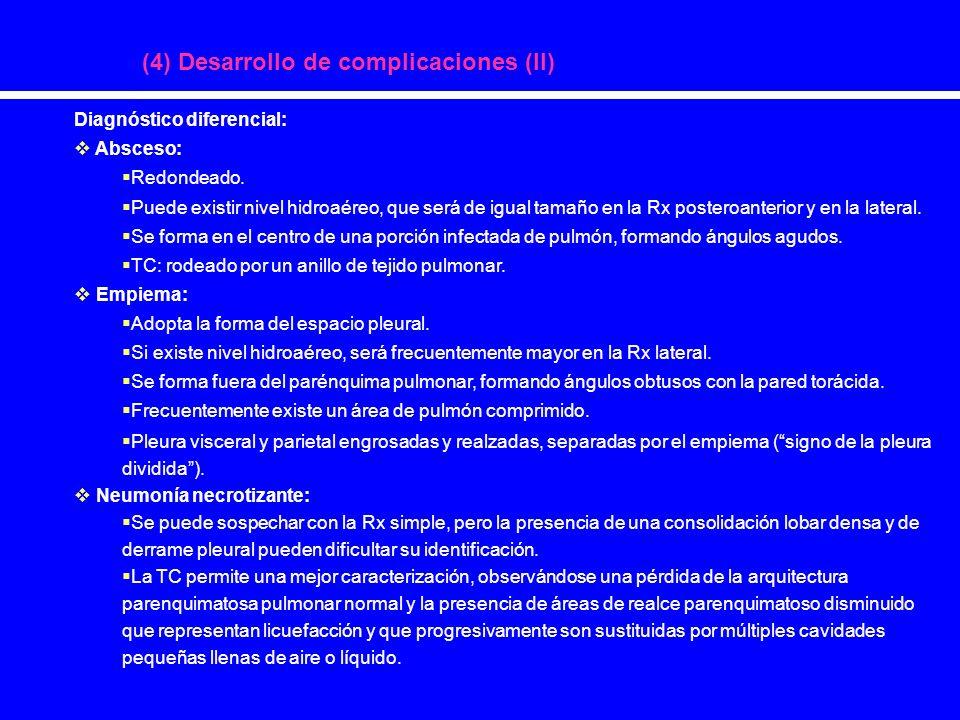 (4) Desarrollo de complicaciones (II) Diagnóstico diferencial: Absceso: Redondeado. Puede existir nivel hidroaéreo, que será de igual tamaño en la Rx