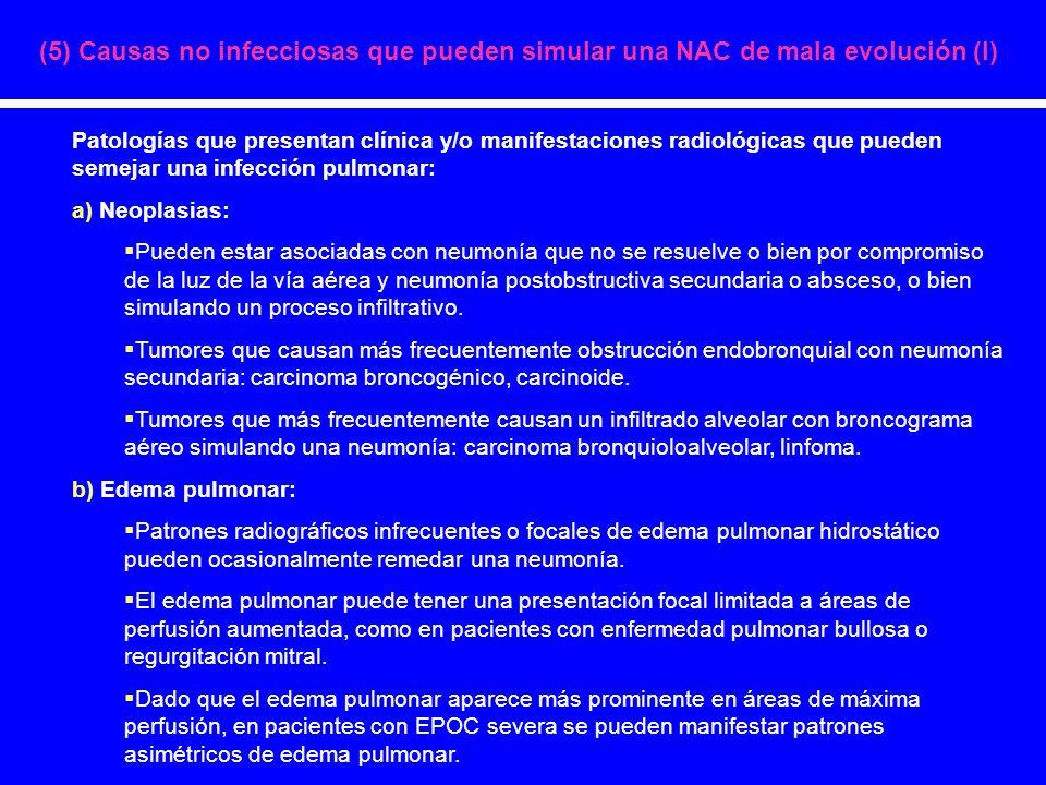 (5) Causas no infecciosas que pueden simular una NAC de mala evolución (I) Patologías que presentan clínica y/o manifestaciones radiológicas que puede
