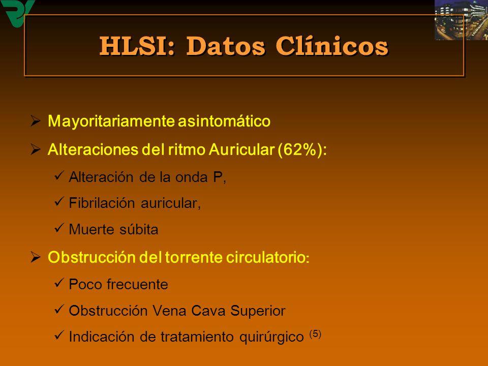 HLSI: Datos Clínicos Mayoritariamente asintomático Alteraciones del ritmo Auricular (62%): Alteración de la onda P, Fibrilación auricular, Muerte súbi