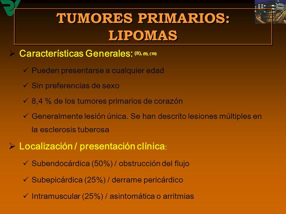 TUMORES PRIMARIOS: LIPOMAS Características Generales: (8), (9), (10) Pueden presentarse a cualquier edad Sin preferencias de sexo 8,4 % de los tumores