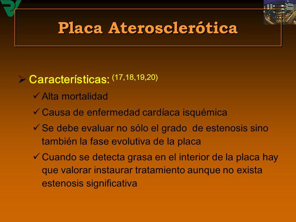 Placa Aterosclerótica Características: (17,18,19,20) Alta mortalidad Causa de enfermedad cardíaca isquémica Se debe evaluar no sólo el grado de esteno