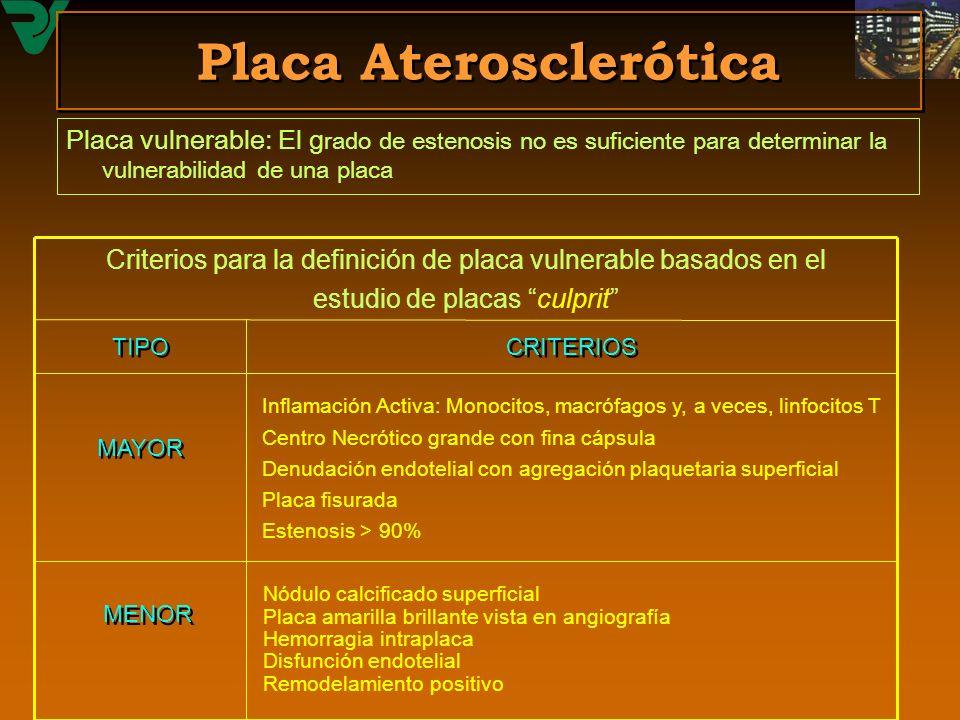 Placa Aterosclerótica Placa vulnerable: El g rado de estenosis no es suficiente para determinar la vulnerabilidad de una placa MENOR Inflamación Activ