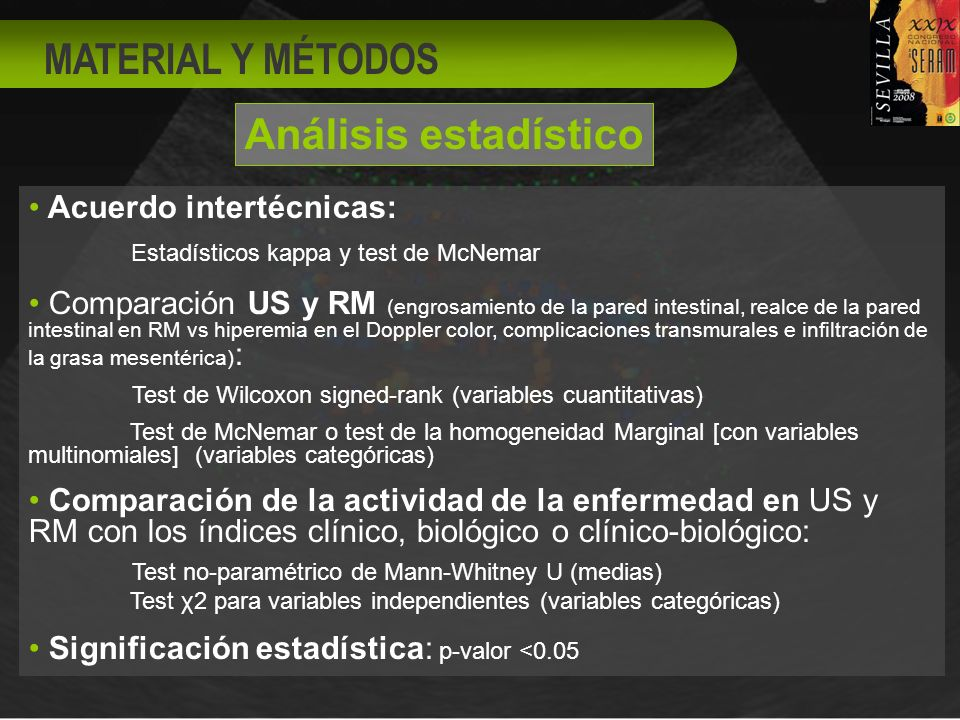 Acuerdo intertécnicas: Estadísticos kappa y test de McNemar Comparación US y RM (engrosamiento de la pared intestinal, realce de la pared intestinal en RM vs hiperemia en el Doppler color, complicaciones transmurales e infiltración de la grasa mesentérica) : Test de Wilcoxon signed-rank (variables cuantitativas) Test de McNemar o test de la homogeneidad Marginal [con variables multinomiales] (variables categóricas) Comparación de la actividad de la enfermedad en US y RM con los índices clínico, biológico o clínico-biológico: Test no-paramétrico de Mann-Whitney U (medias) Test χ2 para variables independientes (variables categóricas) Significación estadística: p-valor <0.05 MATERIAL Y MÉTODOS Análisis estadístico
