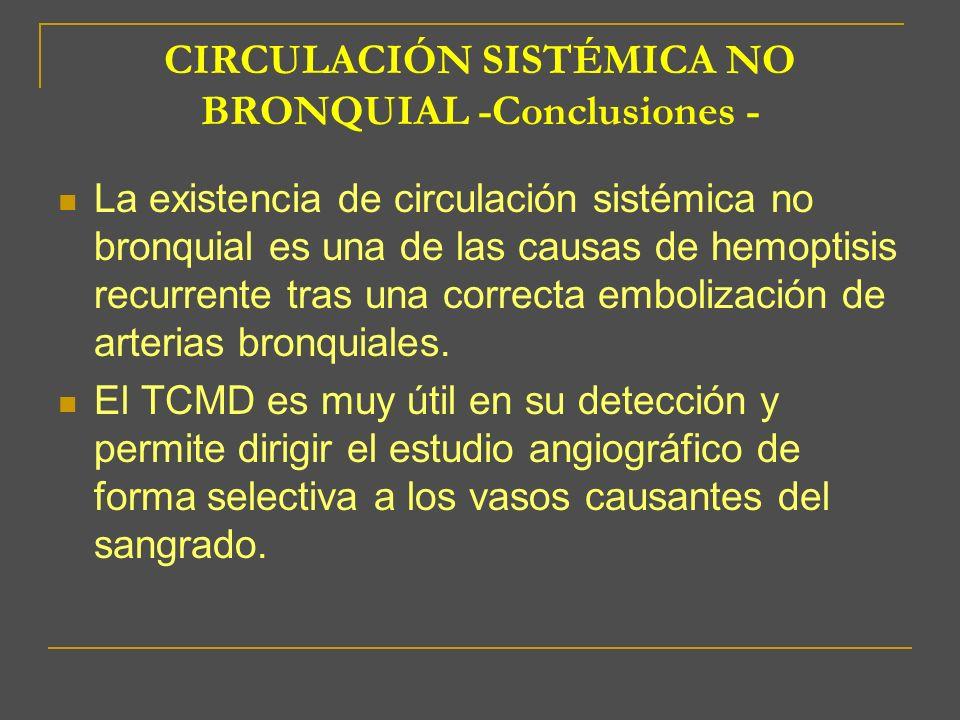CIRCULACIÓN SISTÉMICA NO BRONQUIAL -Conclusiones - La existencia de circulación sistémica no bronquial es una de las causas de hemoptisis recurrente t