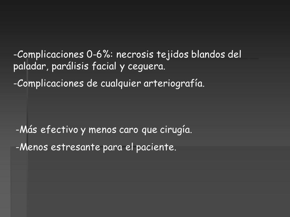 -Complicaciones 0-6%: necrosis tejidos blandos del paladar, parálisis facial y ceguera. -Complicaciones de cualquier arteriografía. -Más efectivo y me