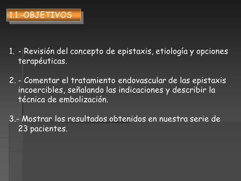 1.- Revisión del concepto de epistaxis, etiología y opciones terapéuticas. 2.- Comentar el tratamiento endovascular de las epistaxis incoercibles, señ