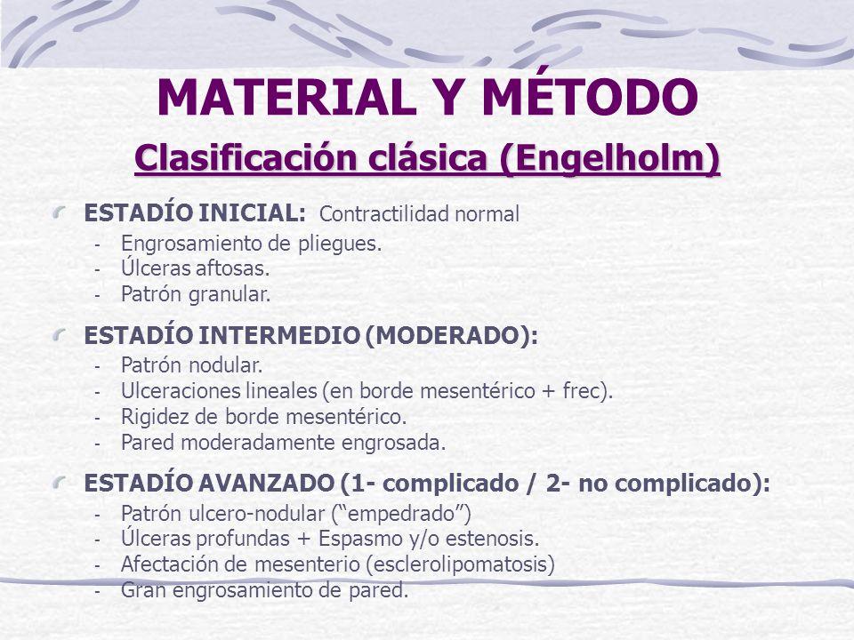 Clasificación clásica (Engelholm) ESTADÍO INICIAL: - Engrosamiento de pliegues.