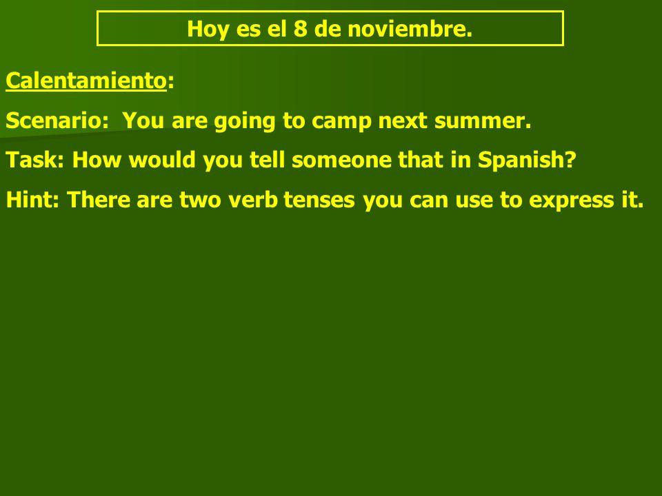 Hoy es el 8 de noviembre. Calentamiento: Scenario: You are going to camp next summer.