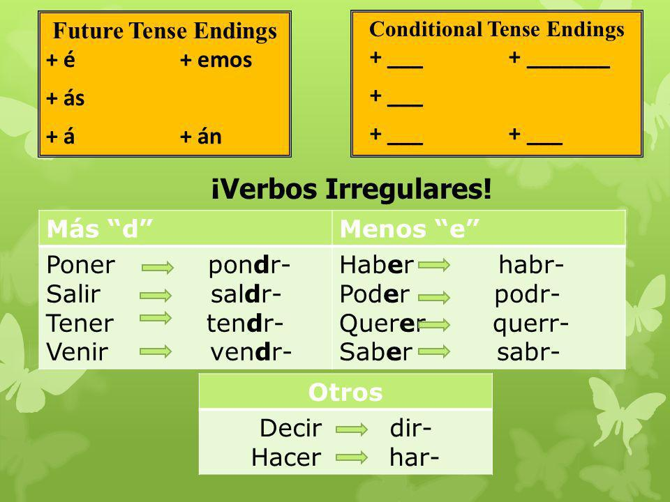 Future Tense Endings + é+ emos + ás + á+ án Más dMenos e Poner pondr- Salir saldr- Tener tendr- Venir vendr- Haber habr- Poder podr- Querer querr- Saber sabr- ¡Verbos Irregulares.