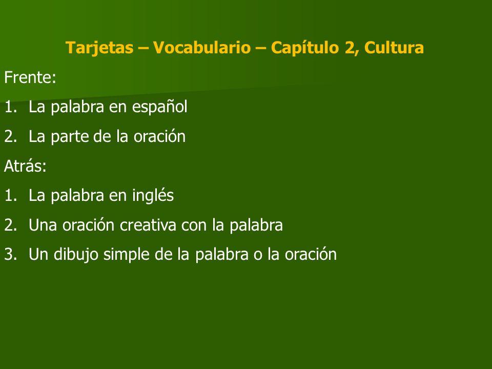 Tarjetas – Vocabulario – Capítulo 2, Cultura Frente: 1.La palabra en español 2.La parte de la oración Atrás: 1.La palabra en inglés 2.Una oración crea
