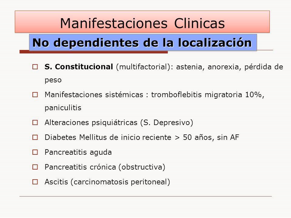 S. Constitucional (multifactorial): astenia, anorexia, pérdida de peso Manifestaciones sistémicas : tromboflebitis migratoria 10%, paniculitis Alterac