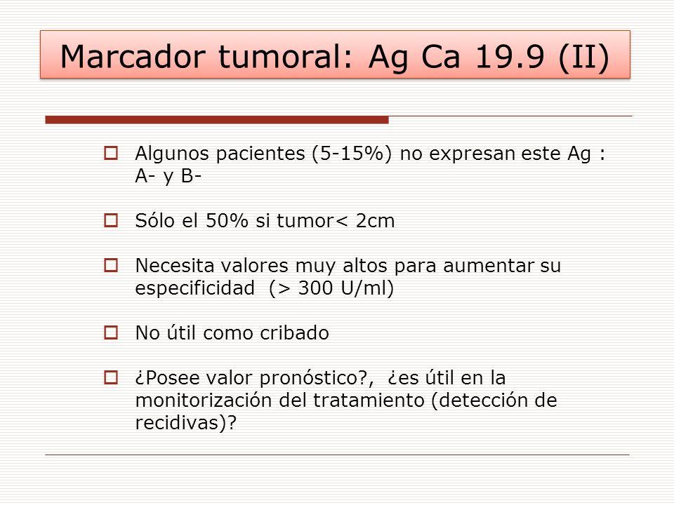 Marcador tumoral: Ag Ca 19.9 (II) Algunos pacientes (5-15%) no expresan este Ag : A- y B- Sólo el 50% si tumor< 2cm Necesita valores muy altos para au
