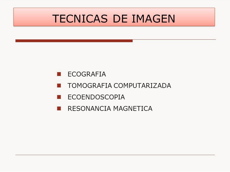 TECNICAS DE IMAGEN ECOGRAFIA TOMOGRAFIA COMPUTARIZADA ECOENDOSCOPIA RESONANCIA MAGNETICA