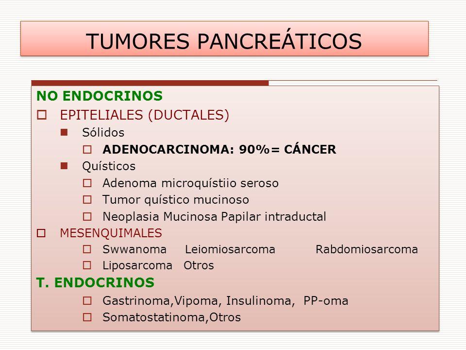NO ENDOCRINOS EPITELIALES (DUCTALES) Sólidos ADENOCARCINOMA: 90%= CÁNCER Quísticos Adenoma microquístiio seroso Tumor quístico mucinoso Neoplasia Muci