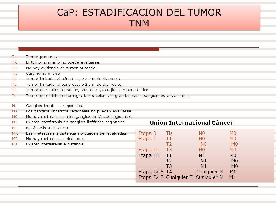 CaP: ESTADIFICACION DEL TUMOR TNM TTumor primario. TXEl tumor primario no puede evaluarse. T0No hay evidencia de tumor primario. TisCarcinoma in situ