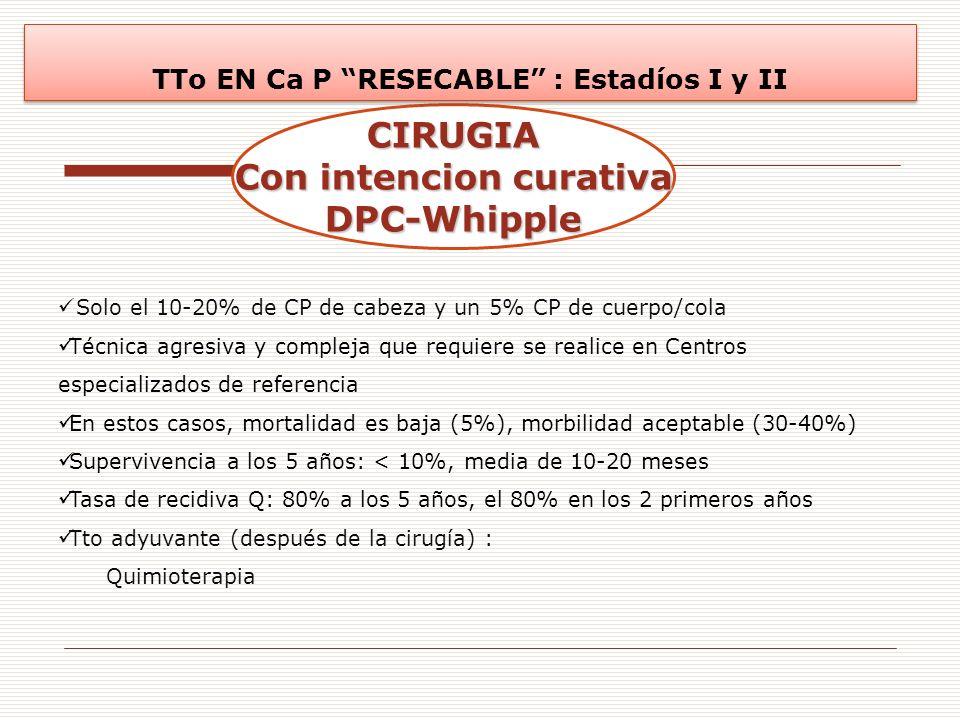 CIRUGIA Con intencion curativa DPC-Whipple TTo EN Ca P RESECABLE : Estadíos I y II Solo el 10-20% de CP de cabeza y un 5% CP de cuerpo/cola Técnica ag