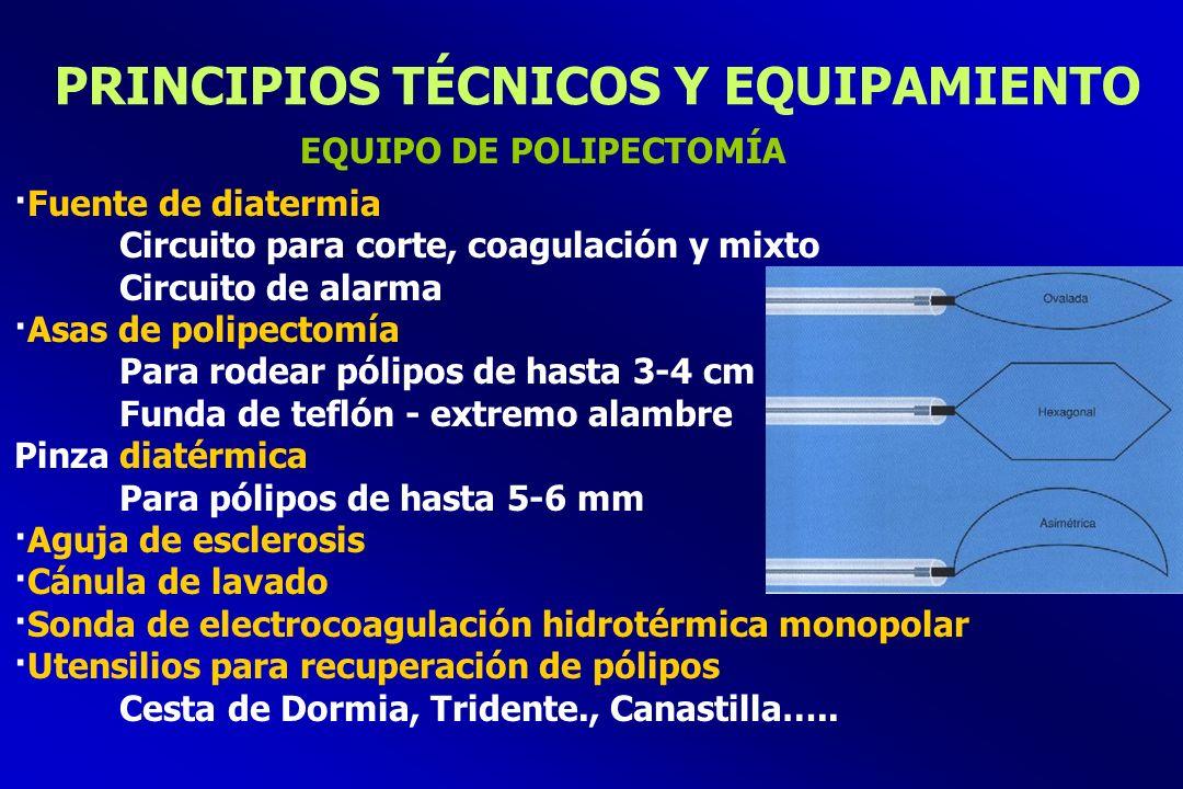 PRINCIPIOS TÉCNICOS Y EQUIPAMIENTO ·Fuente de diatermia Circuito para corte, coagulación y mixto Circuito de alarma ·Asas de polipectomía Para rodear