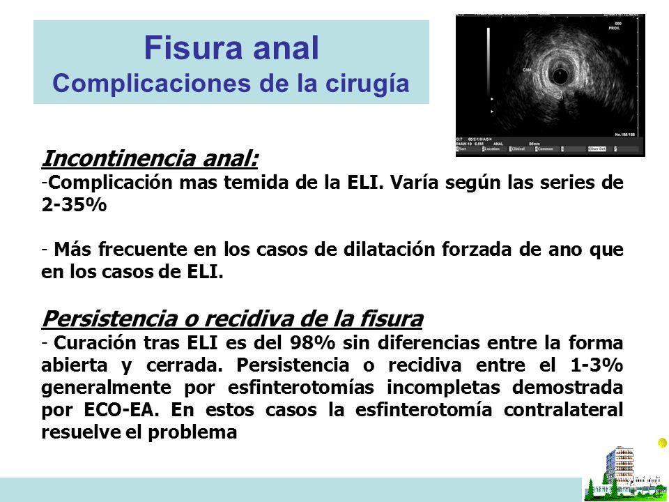 Fisura anal Complicaciones de la cirugía Incontinencia anal: -Complicación mas temida de la ELI. Varía según las series de 2-35% - Más frecuente en lo