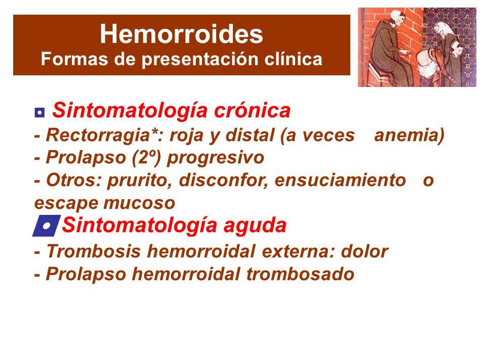 Hemorroides Formas de presentación clínica Sintomatología crónica - Rectorragia*: roja y distal (a veces anemia) - Prolapso (2º) progresivo - Otros: prurito, disconfor, ensuciamiento o escape mucoso Sintomatología aguda - Trombosis hemorroidal externa: dolor - Prolapso hemorroidal trombosado