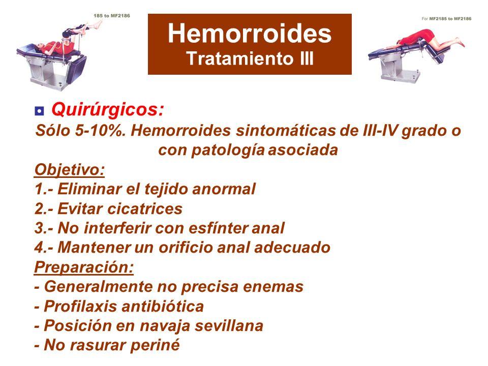 Hemorroides Tratamiento III Quirúrgicos: Sólo 5-10%. Hemorroides sintomáticas de III-IV grado o con patología asociada Objetivo: 1.- Eliminar el tejid