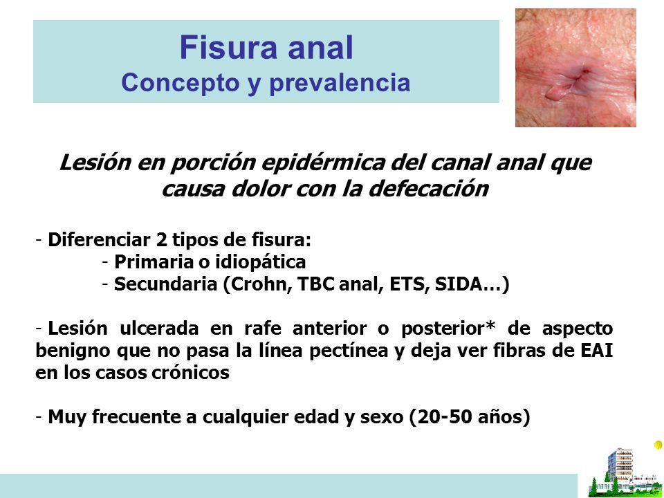 Fisura anal Concepto y prevalencia Lesión en porción epidérmica del canal anal que causa dolor con la defecación - Diferenciar 2 tipos de fisura: - Primaria o idiopática - Secundaria (Crohn, TBC anal, ETS, SIDA…) - Lesión ulcerada en rafe anterior o posterior* de aspecto benigno que no pasa la línea pectínea y deja ver fibras de EAI en los casos crónicos - Muy frecuente a cualquier edad y sexo (20-50 años)
