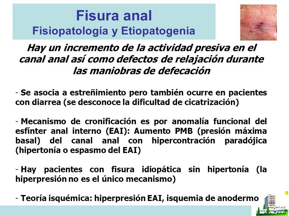 Fisura anal Fisiopatología y Etiopatogenia Hay un incremento de la actividad presiva en el canal anal así como defectos de relajación durante las maniobras de defecación - Se asocia a estreñimiento pero también ocurre en pacientes con diarrea (se desconoce la dificultad de cicatrización) - Mecanismo de cronificación es por anomalía funcional del esfínter anal interno (EAI): Aumento PMB (presión máxima basal) del canal anal con hipercontración paradójica (hipertonía o espasmo del EAI) - Hay pacientes con fisura idiopática sin hipertonía (la hiperpresión no es el único mecanismo) - Teoría isquémica: hiperpresión EAI, isquemia de anodermo