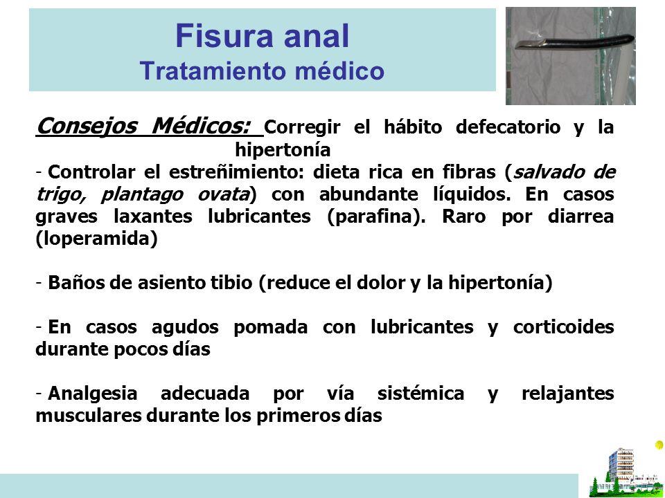 Fisura anal Tratamiento médico Consejos Médicos: Corregir el hábito defecatorio y la hipertonía - Controlar el estreñimiento: dieta rica en fibras (sa