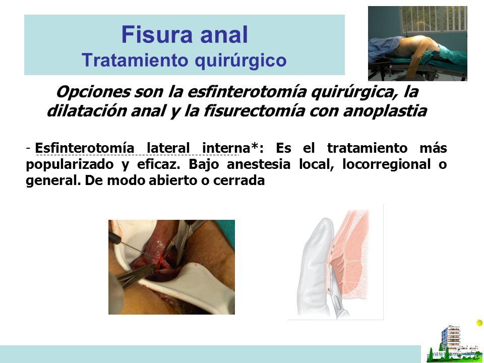 Fisura anal Tratamiento quirúrgico Opciones son la esfinterotomía quirúrgica, la dilatación anal y la fisurectomía con anoplastia - Esfinterotomía lateral interna*: Es el tratamiento más popularizado y eficaz.