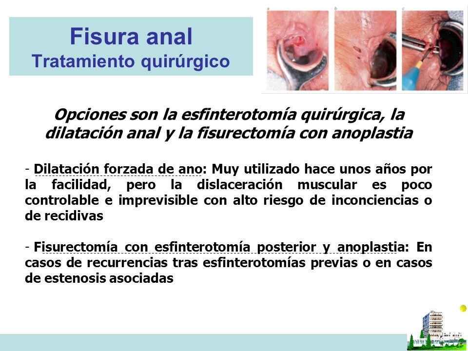 Fisura anal Tratamiento quirúrgico Opciones son la esfinterotomía quirúrgica, la dilatación anal y la fisurectomía con anoplastia - Dilatación forzada de ano: Muy utilizado hace unos años por la facilidad, pero la dislaceración muscular es poco controlable e imprevisible con alto riesgo de inconciencias o de recidivas - Fisurectomía con esfinterotomía posterior y anoplastia: En casos de recurrencias tras esfinterotomías previas o en casos de estenosis asociadas