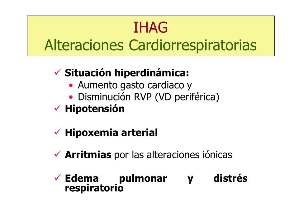 Situación hiperdinámica: Aumento gasto cardiaco y Disminución RVP (VD periférica) Hipotensión Hipoxemia arterial Arritmias por las alteraciones iónica